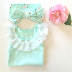 Mint and Lace Collar Singlet and head wrap - baby girl ruffle, summer, frill