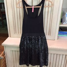 ✨✨✨SPARKLY BLACK DRESS ✨✨✨ ✨Sparkly Black Dress - spandex top - sequin bottom one piece fun comfy dress - dress up or down ✨ Eight sixty Dresses