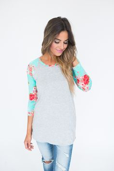 Floral Sleeve Baseball Tee- Grey - Dottie Couture Boutique