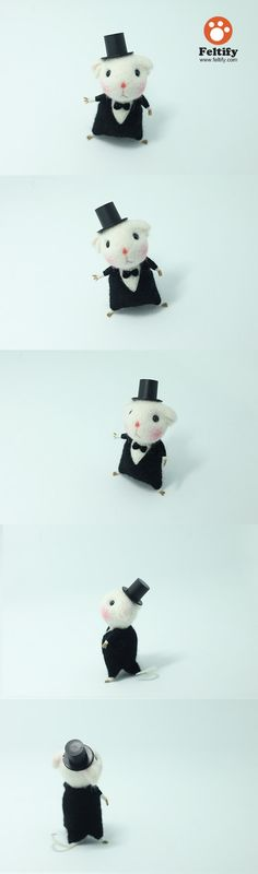 Needle Felted Felting Wool Animals Cute Black Waiter Mouse