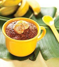 Bolo na caneca de banana com chocolate / DIY, Food, Candy