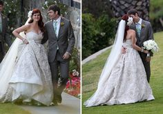 """Sara Rue chose Amsale's caffe-colored """"Dahlia"""" wedding dress for her oceanside wedding to Kevin Price. The strapless silk taffeta ball gown had a ruched sweetheart neckline and natural waist. The skirt was detailed with hand-pleated taffeta floral embroidery."""