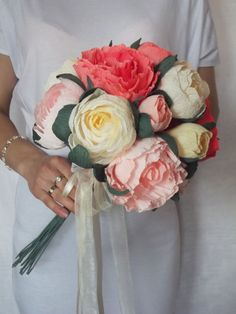 Wedding bouquet, Bridal bouquet,paper flower bouquet,wedding peony,salmon-raspberry,paper flowers,bridal flower,peonies bouquet,