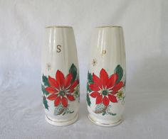 Poinsettia, Holly Berries Tall Salt & Pepper Shaker Set by WeBGlass on Etsy Salt Pepper Shakers, Salt And Pepper, Thing 1, Holly Berries, Etsy Shipping, Poinsettia, Wine Glass, Vintage Items, Hand Painted