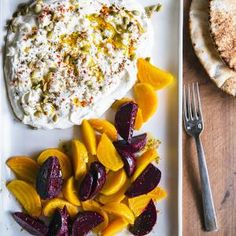 Yogurt Cheese with Roasted Beets and Feta | MyRecipes.com