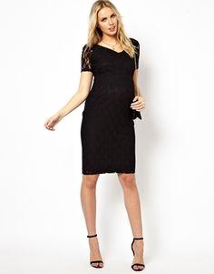 Enlarge ASOS Maternity Exclusive Bardot Midi Dress In Lace in Longer Length