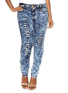 Plus Size Textured Medium Wash Skinny Jeans with Distressed Details,MEDIUM WASH