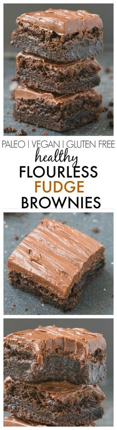 Healthy Flourless Chocolate Fudge Brownies- Just THREE ingredients in the base and a healthy fudge frosting- Absolutely NO butter, oil, flour or sugar! {vegan, gluten free, paleo recipe}- thebigmansworld
