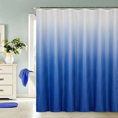 13 Piece Waffle Fabric Ombre Shower Curtain Made With Polyester (Blue) Small Bathroom With Shower, Tiny House Bathroom, Shower Tub, Bathroom Ideas, Bathtub Ideas, Bathroom Stuff, Bathroom Makeovers, Gold Bathroom, Bathroom Renovations