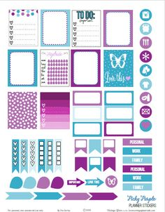 A set of purple and teal planner stickers for vertical weekly planners or for other papercrafts. Free for personal use only. + MORE ON THIS SITE To Do Planner, Free Planner, Planner Pages, Happy Planner, 2015 Planner, School Planner, Blog Planner, Planer Organisation, Diy Organization