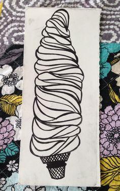 Waterless Litho Ice Cream Print Orginal by HannahMillerDesigns, $20.00