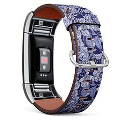 Compatible with Fitbit Charge 2 - Leather Wristband Bracelet Replacement Accessory Band (Includes Adapters) - Flowers...