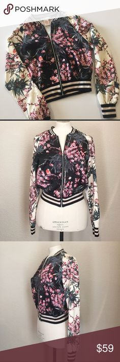Flying Tomato Cherry Blossom Bomber Jacket S -excellent preowned condition -satin fabric Japanese cherry blossom print Bundle up; offers always welcome! Flying Tomato Jackets & Coats Utility Jackets