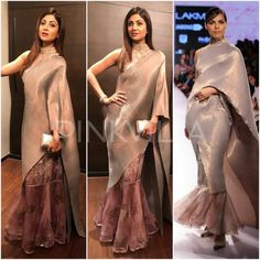Grey and dusty pink modern saree Yay or Nay : Shilpa Shetty in Kiran Uttam Ghosh Trendy Sarees, Stylish Sarees, Saree Draping Styles, Saree Styles, Lehenga Designs, Saree Blouse Designs, Blouse Patterns, Indian Designer Outfits, Designer Dresses