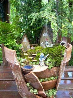 Homemade Plant Pot Fairy Garden...from a broke flower pot!