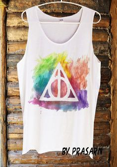Rainbow Deathly Hallows Harry Potter Magic Spells Handmade Tank Top Screen Print White Clothing Womens Tee T Shirts Tshirts Shirt S M L