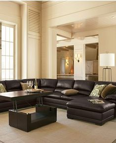 Martha Stewart Leather Living Room Furniture Sets & Pieces, Bradyn ...