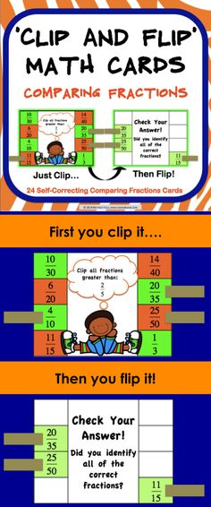 Comparing Fractions 'Clip and Flip' cards contains 24 self-correcting cards to help students practice comparing fractions.  These comparing fractions 'Clip and Flip' cards are so simple to use! Students use clothespins or paper clips to clip all of the answers that they believe are correct on the card. Then, they flip over the card to check their answers.