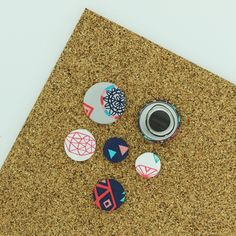 Gift Idea #17: A handy kitchen or home accessory: Fabric Cover Button Magnets. You will love the splash of color they add to your loved one's fridge or magnet board and their usefulness. Supplies:  1 Completed Flat Back Fabric Cover Button (Attach either a Size 36 (7/8 inch / 23 mm), Size 45 (1 1/8 inch / 28 mm), Size 60 (1 1/2 inch / 38 mm) flat back cover buttons.) Tutorial and Supplies @ ILikeBigButtons.com