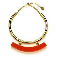 Havana Collar with Orange Resin Bar