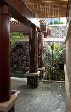 pool shower garden best outdoor showers ideas on baby. modern outdoor shower modern outdoor shower design ideas using white stone wall also built in Interior Exterior, Exterior Design, Outdoor Spaces, Outdoor Living, Indoor Outdoor, Outdoor Pool, Outdoor Bathrooms, Outdoor Showers, Tropical Bathroom