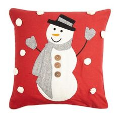 Debenhams Red snowman appliqu cushion- at Debenhams.com