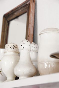Collection of ironstone shakers Shabby Vintage, Vintage Love, French Vintage, Shabby Chic, Shades Of White, French Decor, White Ceramics, Stoneware, Tableware