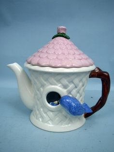 Tea Pot Ceramic Birdhouse with Blue Bird by Teleflora | eBay/ i HAVE THIS