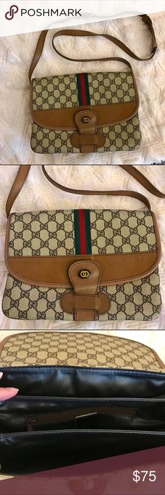 ✨Vintage Gucci Bag ✨Vintage Gucci Bag.  Three compartments inside.  One inside zipper pocket.  Adjustable strap.  Magnetic snap button closure.  Light wear on edges.  Good condition.  Please read my first comment below.:). Smoke free pet free home. Bags Crossbody Bags