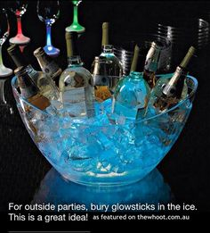 party glow sticks in ice