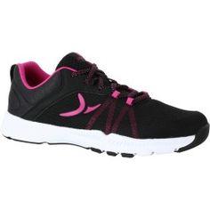 Chaussure fitness cardio femme noir rose Energy 100