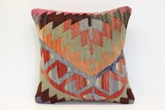 Turkish Oriental Kilim Pillow Cover 16 x 16 by kilimwarehouse