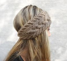 Hand Knit Headband, Winter Headband, Ear Warmer, Button, Cable Knit Headband for Women, Light Brown OR Choose Color