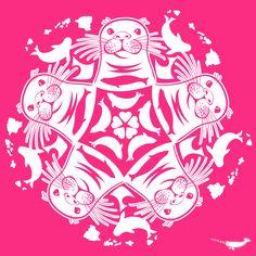 Hawaiian Monk Seal ZOOFLAKE Cut Paper, Paper Cutting, Hawaiian Monk Seal, Fun Crafts, Paper Crafts, Paper Ornaments, Snowflake Pattern, Kirigami, Creative Design