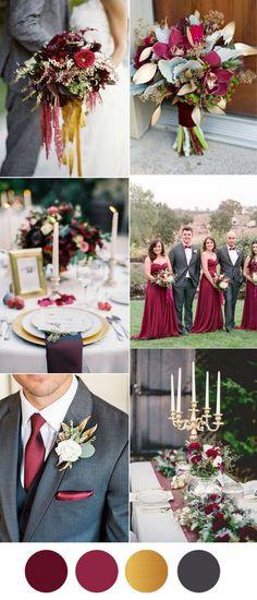 six beautiful burgundy wedding colors in shades of gold gray wedding colors grey weddings and colors grey Wedding Colors Gold And Burgandy Grey Wedding Theme, Gray Wedding Colors, Winter Wedding Colors, Red Wedding, Wedding Color Schemes, Wedding Themes, Cranberry Wedding Colors, Wedding Dress, Wedding Suits