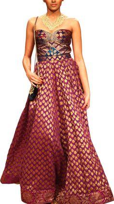 Off Shoulder Purple Dress   Strandofsilk.com - Indian Designers