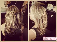 Blonde waterfall braid with curls. Wedding hair by Pink Comb Studio, Westfield NJ. Onsite bridal services throughout tri-state area