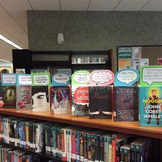 Pick me! Pick me! Our books are calling out to you! See what they have to say. #speechbubbles #teenplace #bookdisplay #cliftonpark #halfmoon #cphlibrary #library School Library Design, School Library Displays, Elementary School Library, Middle School Libraries, Library Organization, Library Shelves, Library Bulletin Boards, Library Science, Library Activities