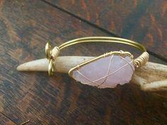 Rose Quarts Arrowhead Cuff Arrowhead by ARollingStoneJewels