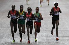 Edna Ngeringwony Kiplagat, Kenya, Tiki Gelana, Ethiopia, Mary Jepkosgie Keitany, Kenya, Mare Dibaba, Ethiopia, Priscah Jeptoo, Kenya running women's marathon 2012 London Olympics.