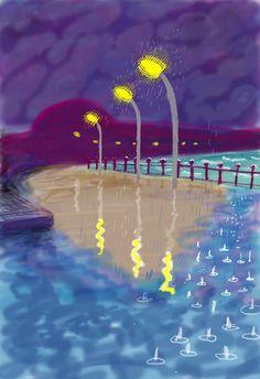 rainy night on Bridlington Promenade by David Hockney