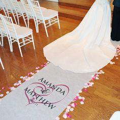 Our Embracing Hearts Aisle Runner will capture your guests attention and create a beautiful walk way for your ceremonial debut! With its interlocking heart design and romantic style, garnished with your names, wedding date and the accent color of your choice, this unique ceremony detail is made exclusively for every couple who chooses it... and at no additional cost!