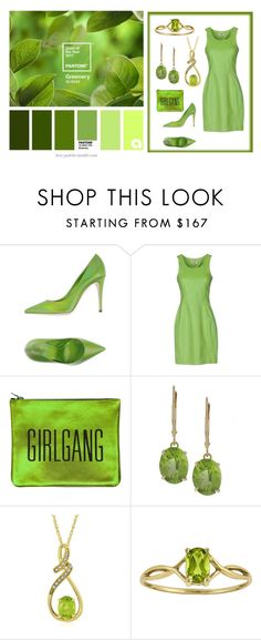 """""""Pantone Color of the Year 2017: Greenery"""" by abbyandelle ❤ liked on Polyvore featuring Giamba, Moschino Cheap & Chic, Sarah Baily, Kabella Jewelry, AbbyAndElle and upstairsfashion"""