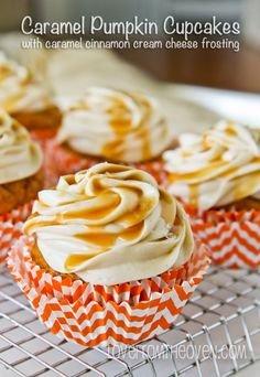 Caramel Pumpkin Cupcakes With Caramel Cinnamon Cream Cheese Frosting!  Recipe at www.lovefromtheoven.com