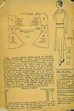 6829 Ladies dress with back in either of two outlines. 1920s