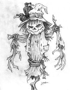 Gothic Drawings, Fall Drawings, Dark Art Drawings, Art Drawings Sketches, Sketch Drawing, Scary Halloween Drawings, Creepy Drawings, Halloween Art, Scarecrow Tattoo