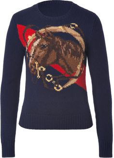 Ralph Lauren Blue Label Wool-Cashmere Intarsia Knit Equestrian Pullover