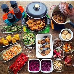 ❁.*⋆✧°.*⋆✧❁ 今週の作り置きおかずあれこれ。 ・ ❁タンドリーチキン ❁鯖の煮付け ❁高野豆腐とがんもの煮物 ❁とうもろこし醤油焼き ❁海老と玉ねぎのマヨソテー ❁赤ピーマンの白だしソテー ❁甘長唐辛子ソテーおかか和え ❁ゴーヤのツナ和え ❁味玉(麺つゆ山葵) ❁紫キャベツのナムル ❁紫キャベツのマリネ ❁蓮根の甘酢漬け ❁大根と人参の甘酢漬け ❁茗荷の甘酢漬け ❁飾りラディッシュ ❁中華風ふりかけ ❁自家製麺つゆ ❁自家製白だし ・ ・ #こころのたね常備菜 ・ ❁.*⋆✧°.*⋆✧°.*⋆✧°❁