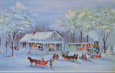 Vtg UNUSED GLITTER Christmas Card VICTORIAN TRAIN STATION HORSE DRAWN SLEIGH