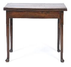 A LATE 18TH CENTURY OAK FOLDOVER TEA TABLE The rectangular foldover top supported by a gate leg, raised on tapering supports with pad feet, 79 x 71 x 42.5cm., Leonard Joel Auctions, Calender, Australian Auctioneers